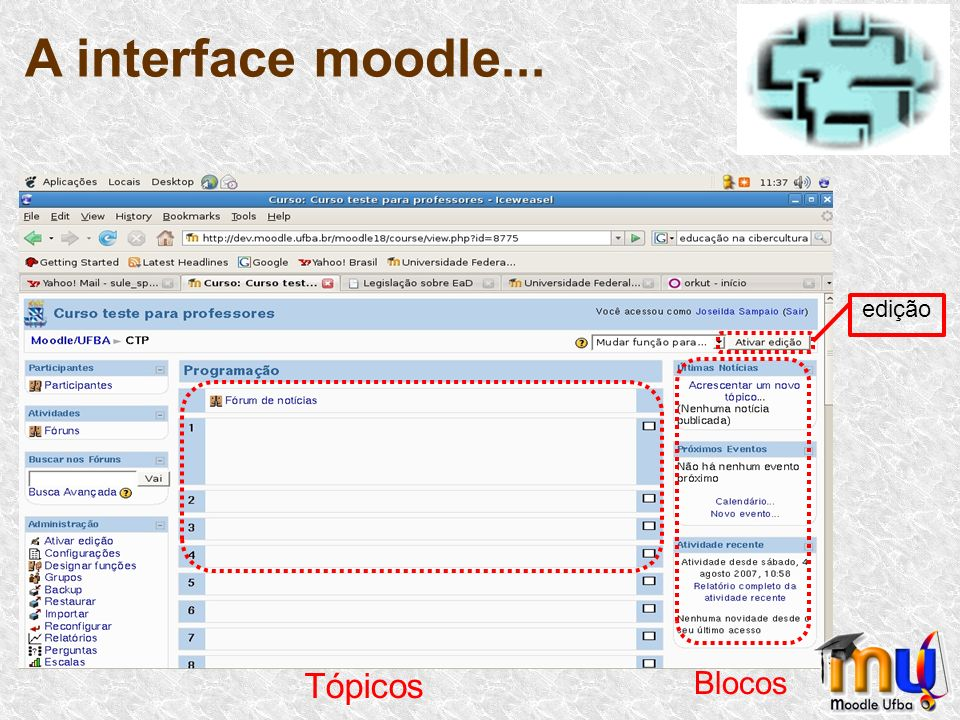 O moodle apresenta um projeto modular que facilita o processo de adicionar atividades, que darão forma ao curso: Configurações: Ao iniciar um curso, o professor precisará configurar o modelo do curso
