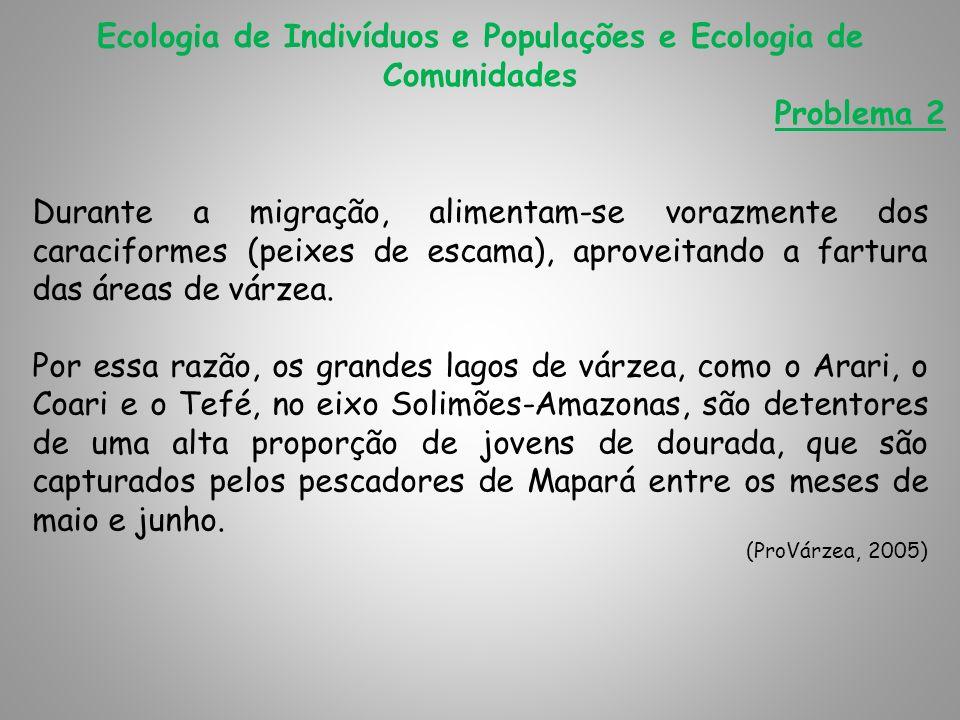 Ecologia de Indivíduos e Populações e Ecologia de Comunidades Problema 2 Durante a migração, alimentam-se vorazmente dos caraciformes (peixes de escam