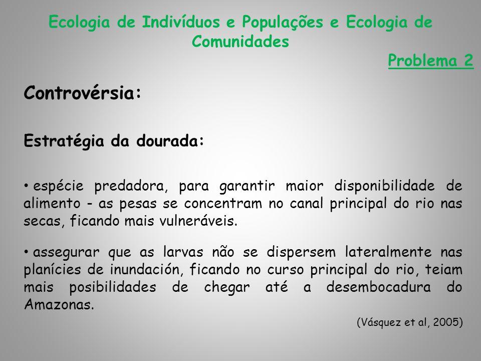Ecologia de Indivíduos e Populações e Ecologia de Comunidades Problema 2 Controvérsia: Estratégia da dourada: espécie predadora, para garantir maior d