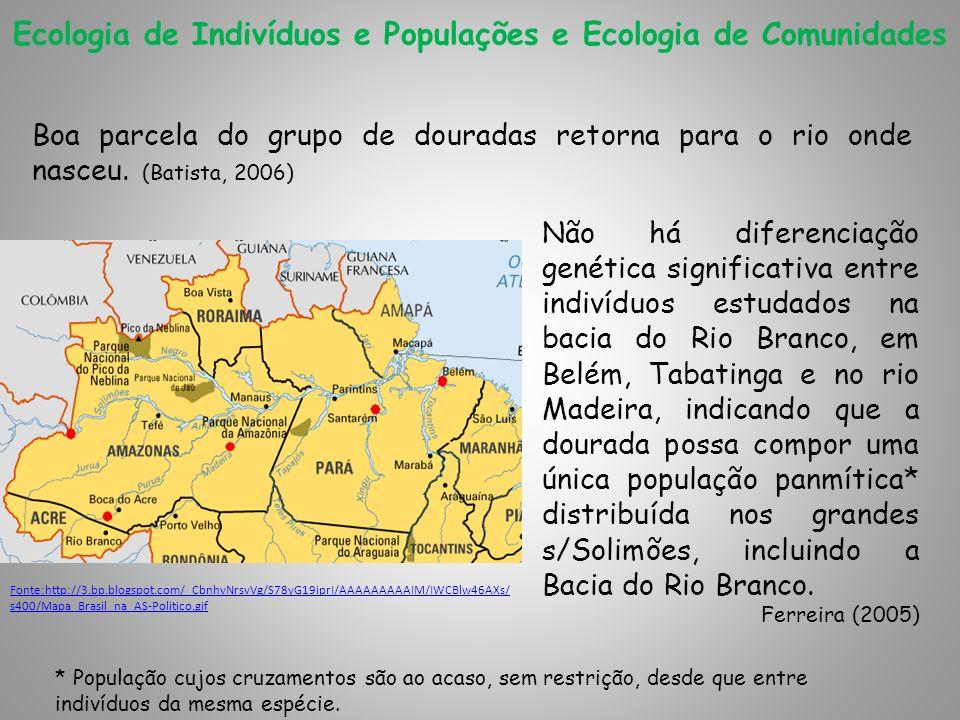 Ecologia de Indivíduos e Populações e Ecologia de Comunidades Boa parcela do grupo de douradas retorna para o rio onde nasceu. (Batista, 2006) Não há