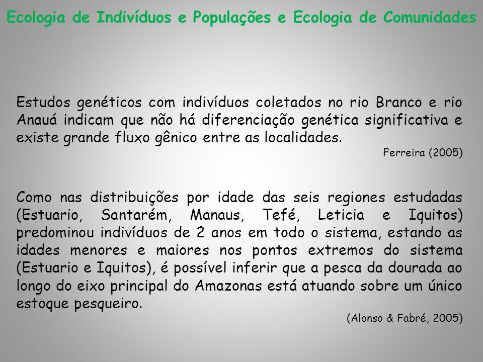 Ecologia de Indivíduos e Populações e Ecologia de Comunidades Estudos genéticos com indivíduos coletados no rio Branco e rio Anauá indicam que não há