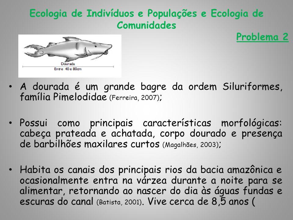Ecologia de Indivíduos e Populações e Ecologia de Comunidades Problema 2 A dourada é um grande bagre da ordem Siluriformes, família Pimelodidae (Ferre