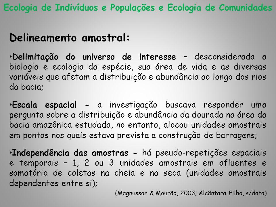 Ecologia de Indivíduos e Populações e Ecologia de Comunidades Delineamento amostral: Delimitação do universo de interesse – desconsiderada a biologia