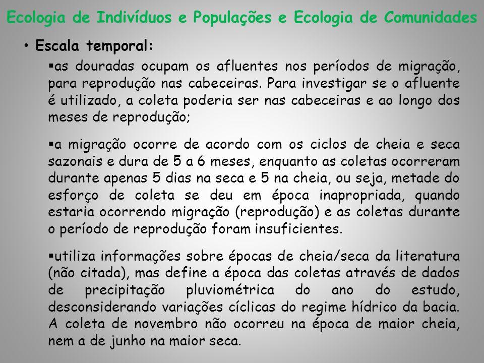 Ecologia de Indivíduos e Populações e Ecologia de Comunidades Escala temporal: as douradas ocupam os afluentes nos períodos de migração, para reproduç