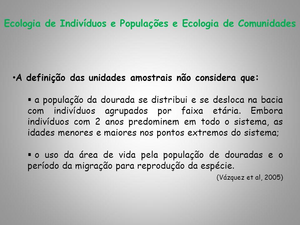 Ecologia de Indivíduos e Populações e Ecologia de Comunidades A definição das unidades amostrais não considera que : a população da dourada se distrib