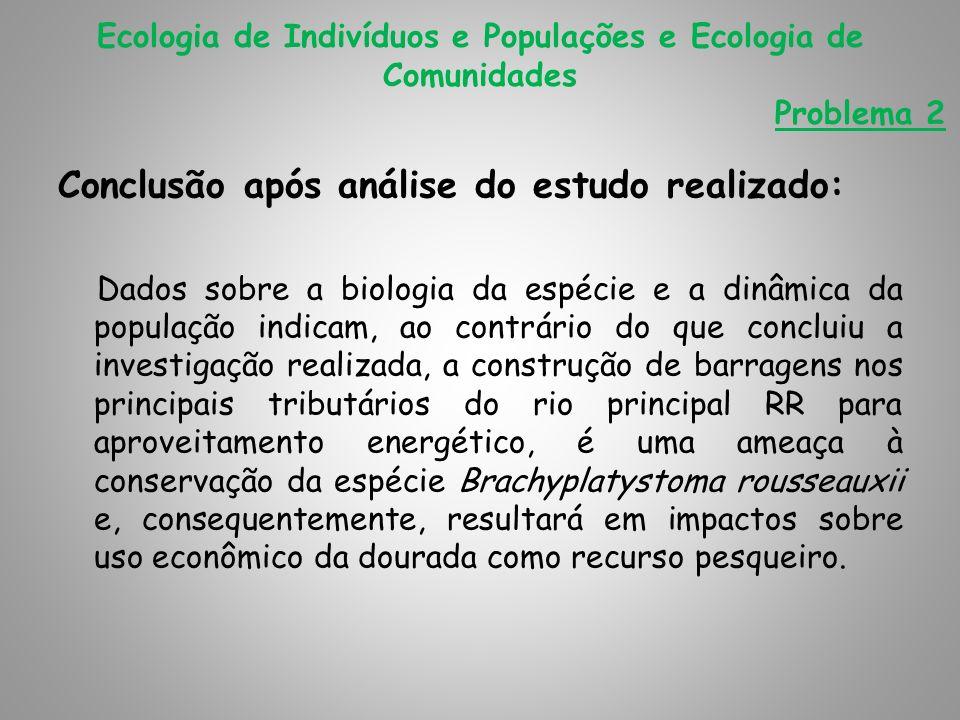 Conclusão após análise do estudo realizado: Dados sobre a biologia da espécie e a dinâmica da população indicam, ao contrário do que concluiu a invest