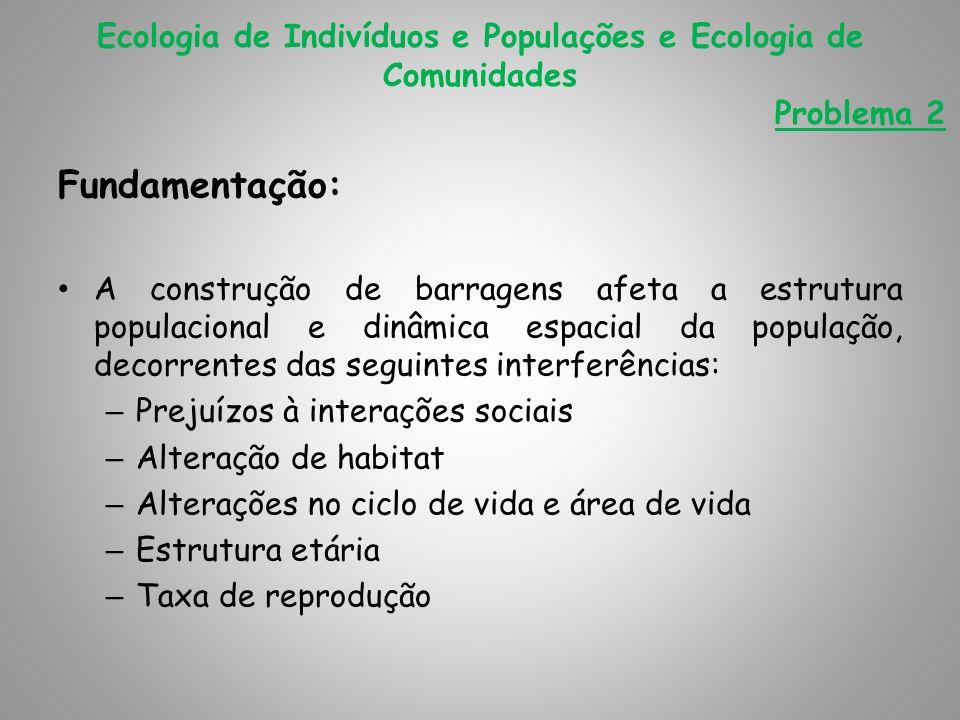 Fundamentação: A construção de barragens afeta a estrutura populacional e dinâmica espacial da população, decorrentes das seguintes interferências: –