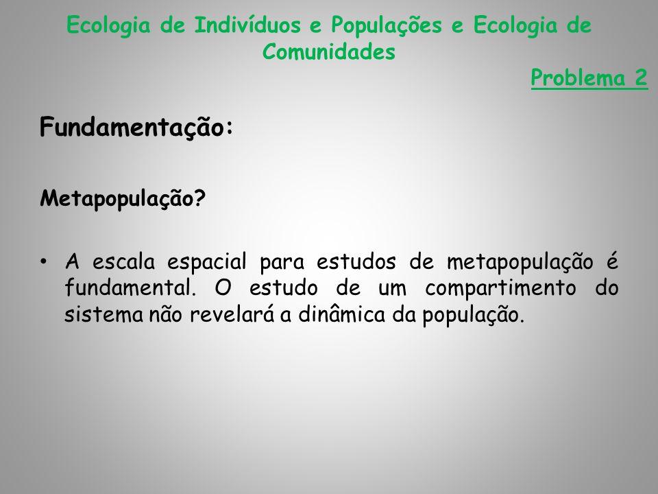Fundamentação: Metapopulação? A escala espacial para estudos de metapopulação é fundamental. O estudo de um compartimento do sistema não revelará a di