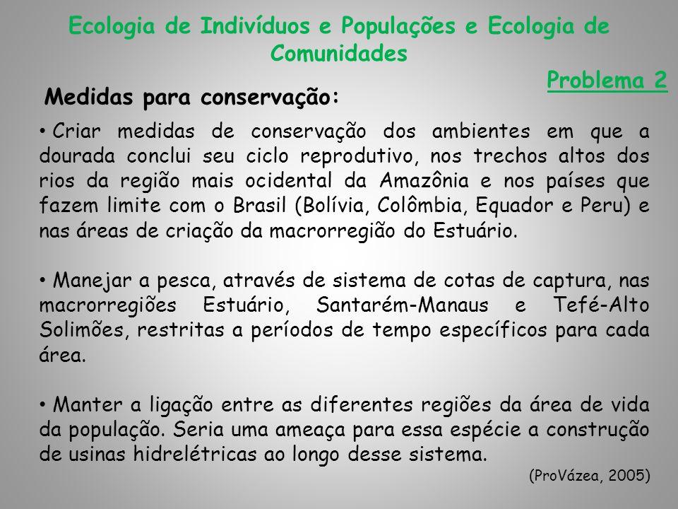Medidas para conservação: Ecologia de Indivíduos e Populações e Ecologia de Comunidades Problema 2 Criar medidas de conservação dos ambientes em que a