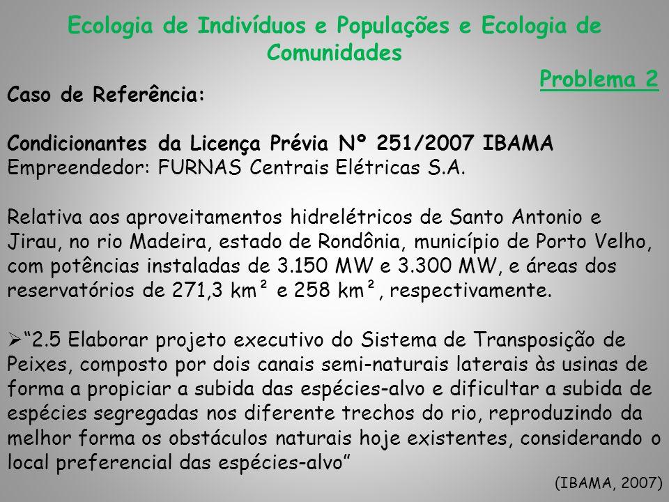 Ecologia de Indivíduos e Populações e Ecologia de Comunidades Problema 2 Caso de Referência: Condicionantes da Licença Prévia Nº 251/2007 IBAMA Empree