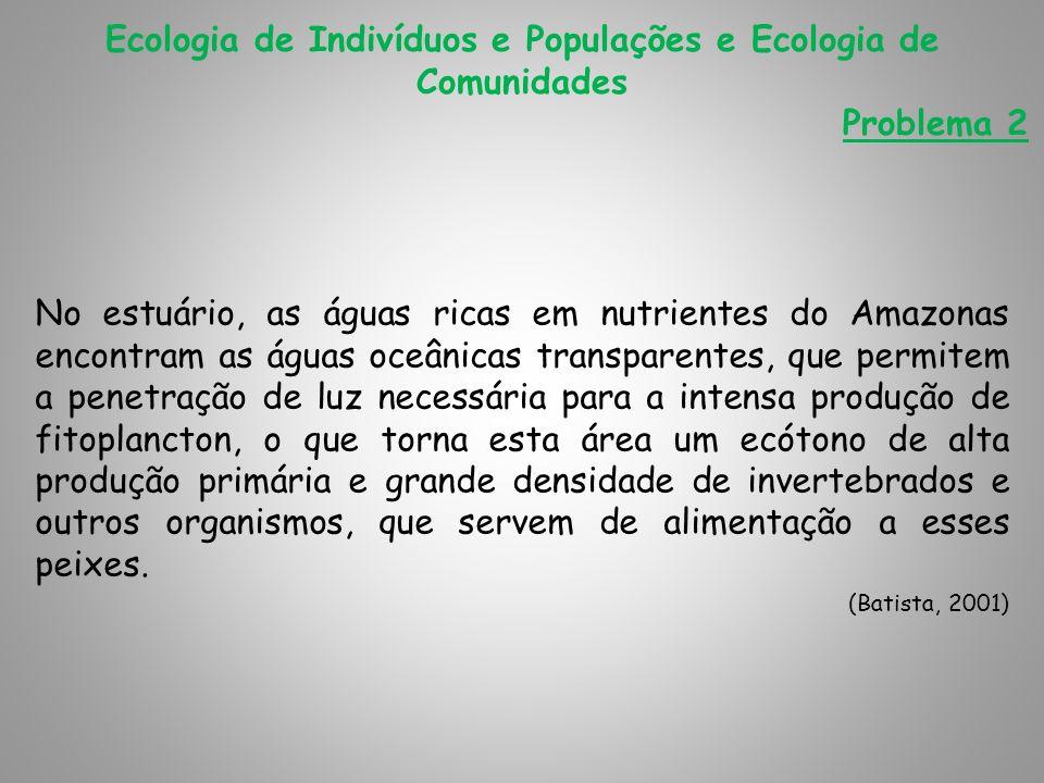 Ecologia de Indivíduos e Populações e Ecologia de Comunidades Problema 2 No estuário, as águas ricas em nutrientes do Amazonas encontram as águas oceâ