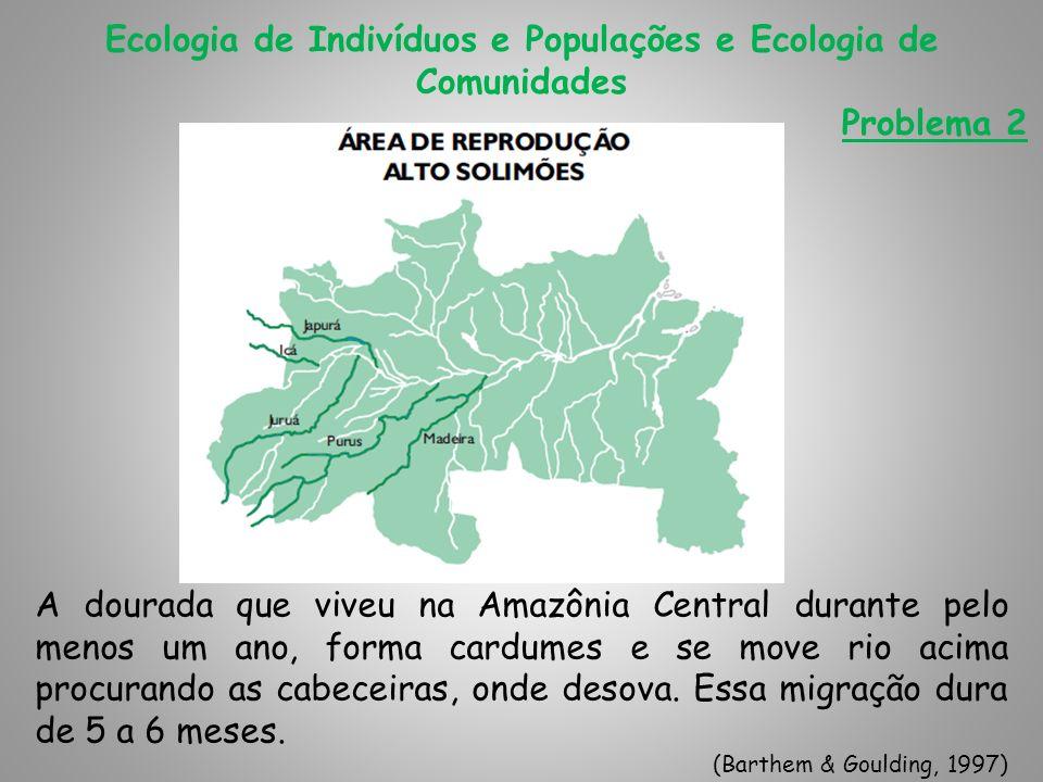 Ecologia de Indivíduos e Populações e Ecologia de Comunidades Problema 2 Durante a migração, alimentam-se vorazmente dos caraciformes (peixes de escama), aproveitando a fartura das áreas de várzea.