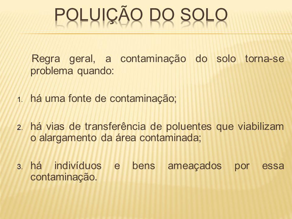 Regra geral, a contaminação do solo torna-se problema quando: 1. há uma fonte de contaminação; 2. há vias de transferência de poluentes que viabilizam