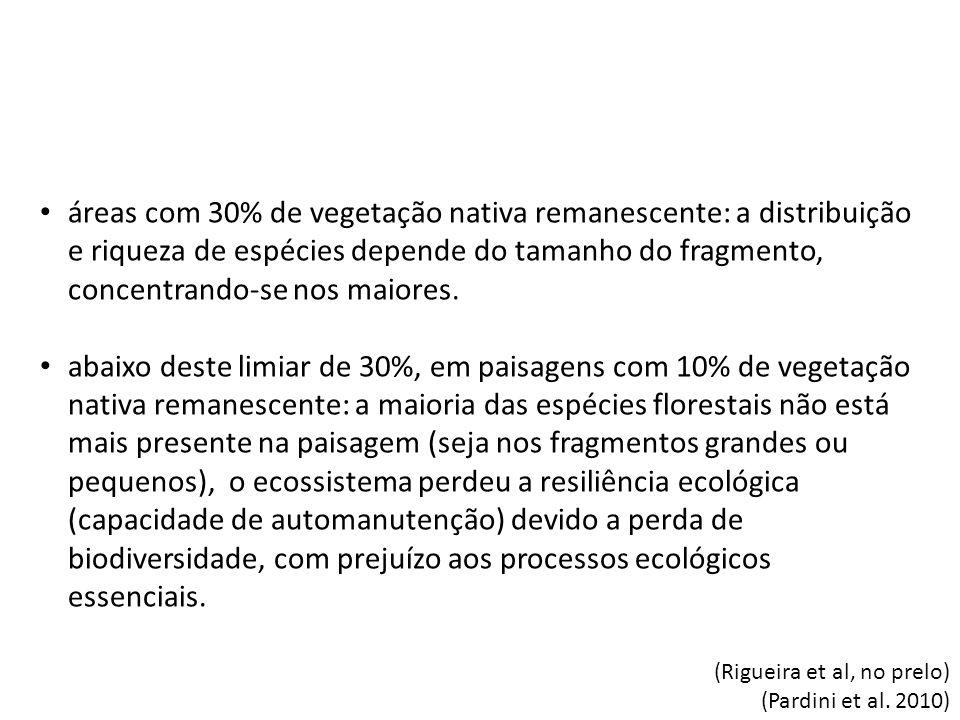 áreas com 30% de vegetação nativa remanescente: a distribuição e riqueza de espécies depende do tamanho do fragmento, concentrando-se nos maiores. aba