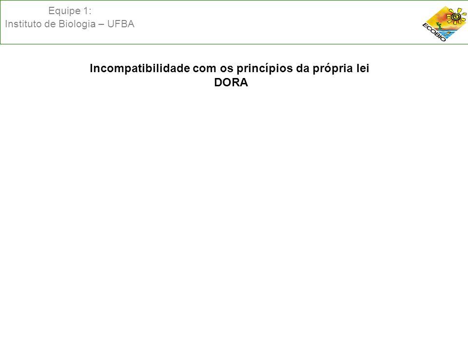 Equipe 1: Instituto de Biologia – UFBA Incompatibilidade com os princípios da própria lei DORA