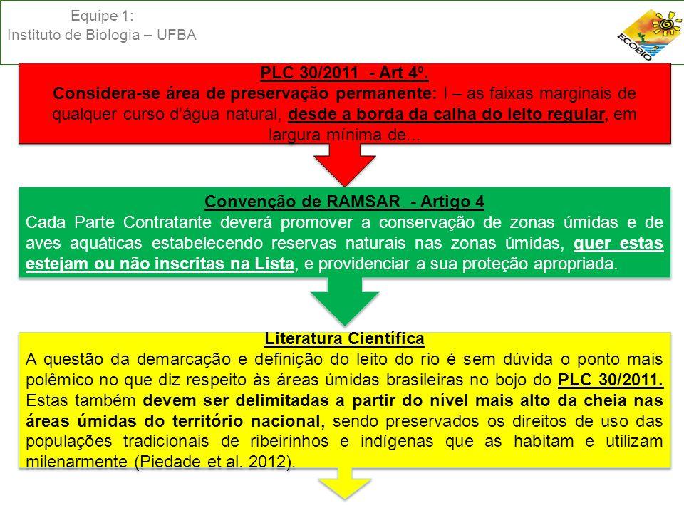 Equipe 1: Instituto de Biologia – UFBA PLC 30/2011 - Art 4º. Considera-se área de preservação permanente: I – as faixas marginais de qualquer curso dá