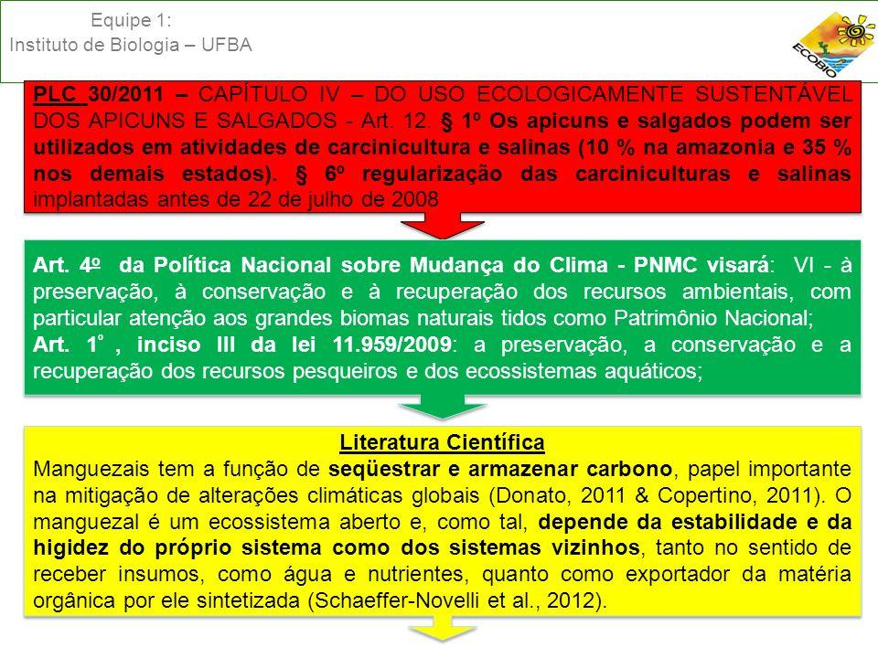 Equipe 1: Instituto de Biologia – UFBA PLC 30/2011 – CAPÍTULO IV – DO USO ECOLOGICAMENTE SUSTENTÁVEL DOS APICUNS E SALGADOS - Art. 12. § 1º Os apicuns