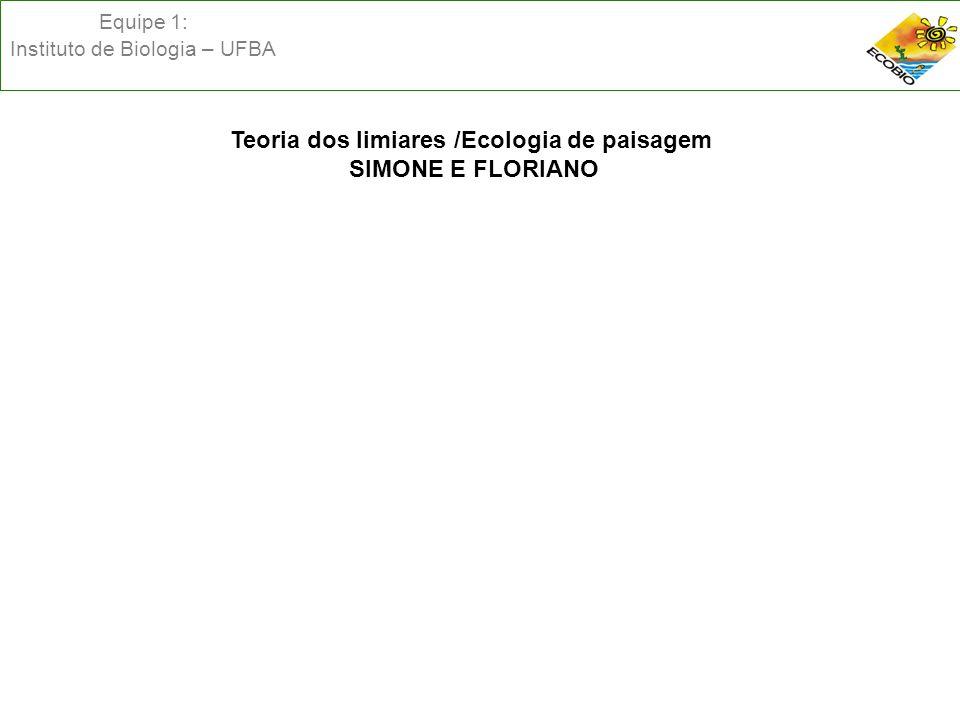 Equipe 1: Instituto de Biologia – UFBA Teoria dos limiares /Ecologia de paisagem SIMONE E FLORIANO