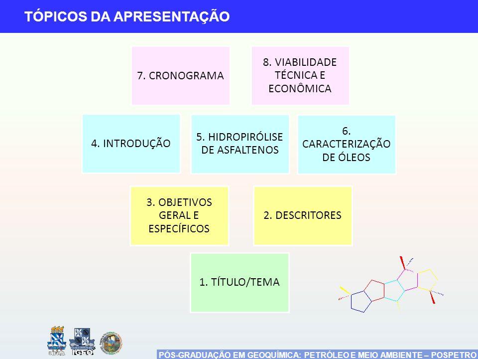 PÓS-GRADUAÇÃO EM GEOQUÍMICA: PETRÓLEO E MEIO AMBIENTE – POSPETRO TÓPICOS DA APRESENTAÇÃO 4. INTRODUÇÃO 5. HIDROPIRÓLISE DE ASFALTENOS 7. CRONOGRAMA 3.