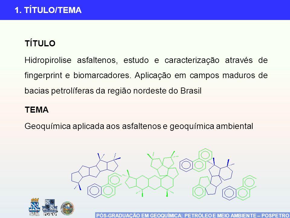 PÓS-GRADUAÇÃO EM GEOQUÍMICA: PETRÓLEO E MEIO AMBIENTE – POSPETRO 1. TÍTULO/TEMA TÍTULO Hidropirolise asfaltenos, estudo e caracterização através de fi