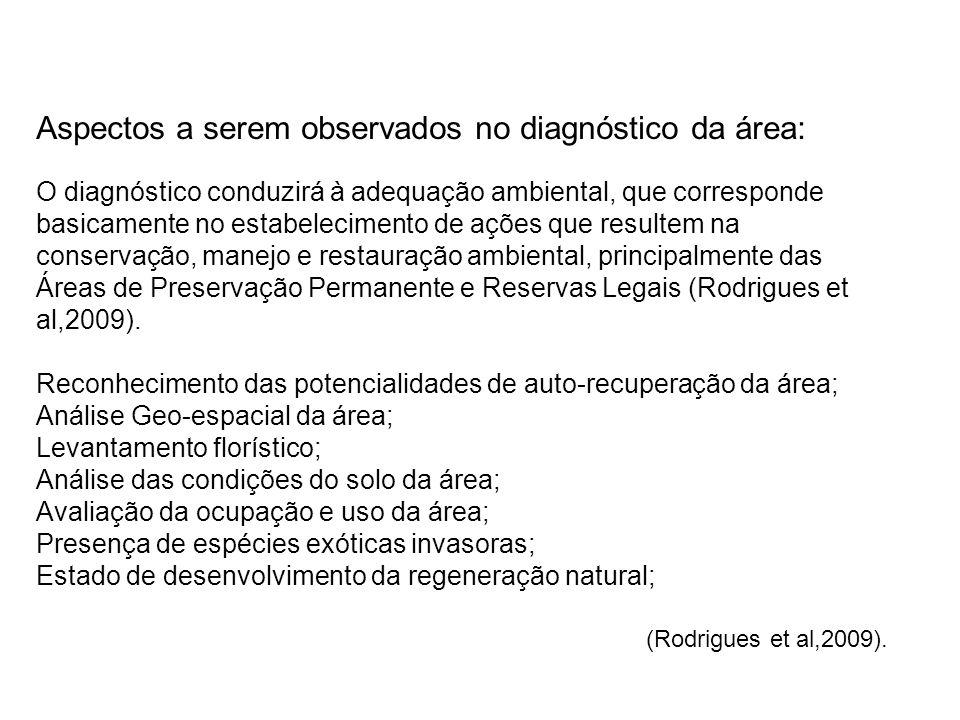 Aspectos a serem observados no diagnóstico da área: O diagnóstico conduzirá à adequação ambiental, que corresponde basicamente no estabelecimento de a