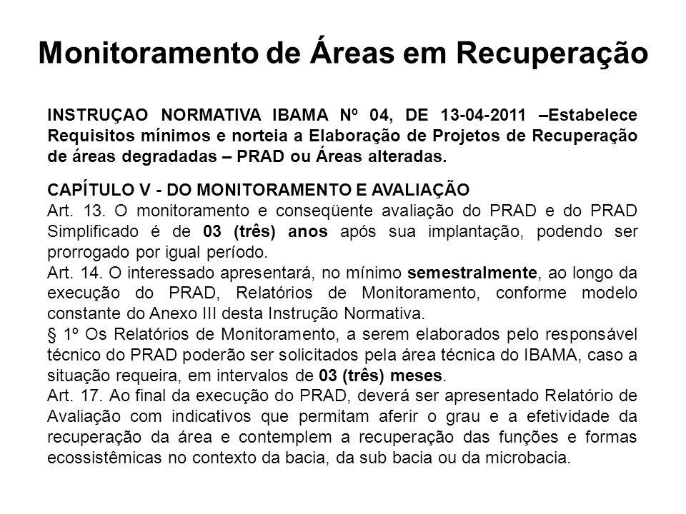 Monitoramento de Áreas em Recuperação INSTRUÇAO NORMATIVA IBAMA Nº 04, DE 13-04-2011 –Estabelece Requisitos mínimos e norteia a Elaboração de Projetos