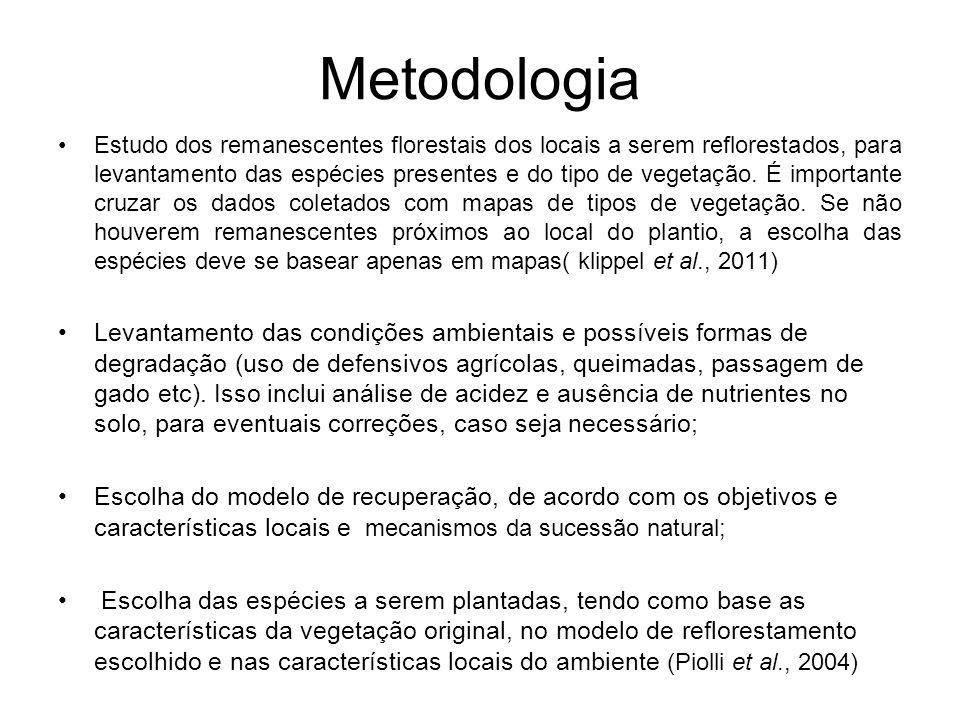 Metodologia Estudo dos remanescentes florestais dos locais a serem reflorestados, para levantamento das espécies presentes e do tipo de vegetação. É i