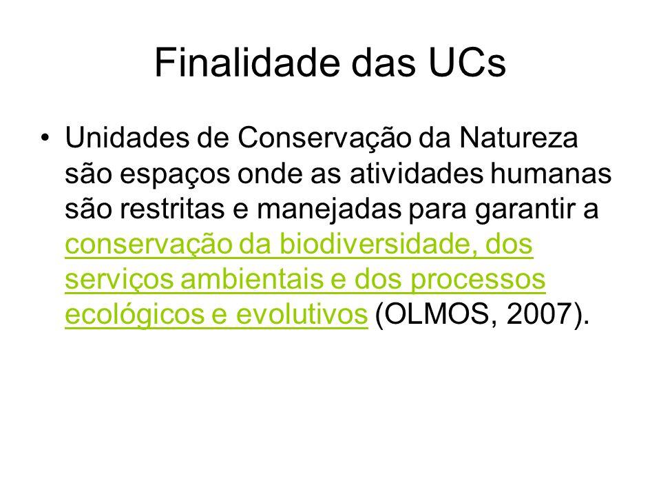 Finalidade das UCs Unidades de Conservação da Natureza são espaços onde as atividades humanas são restritas e manejadas para garantir a conservação da