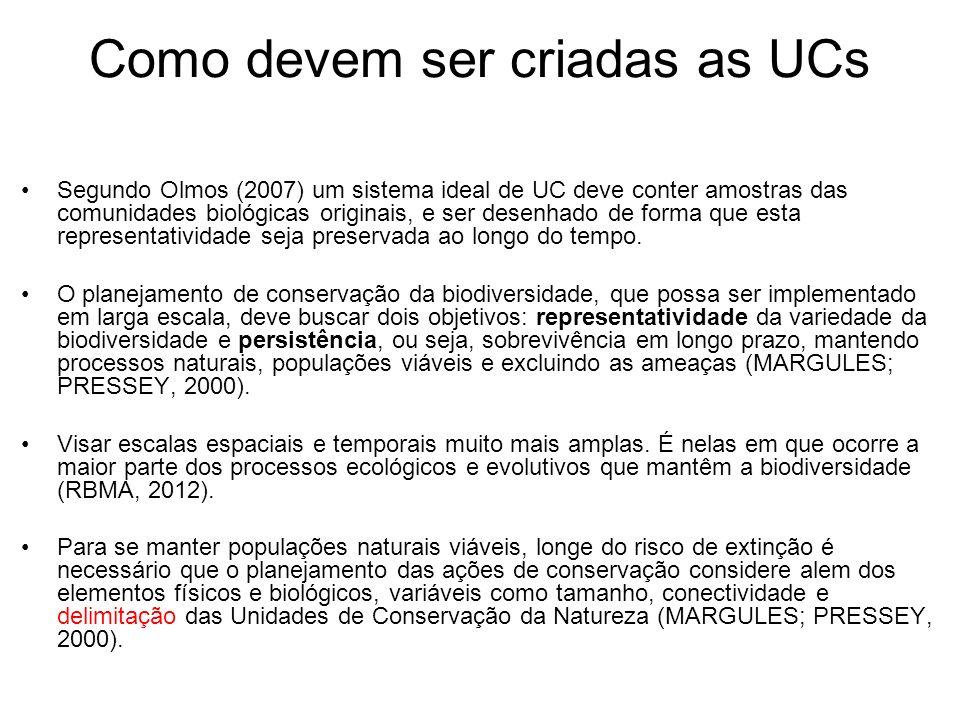 Como devem ser criadas as UCs Segundo Olmos (2007) um sistema ideal de UC deve conter amostras das comunidades biológicas originais, e ser desenhado d
