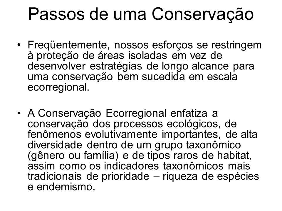 Passos de uma Conservação Freqüentemente, nossos esforços se restringem à proteção de áreas isoladas em vez de desenvolver estratégias de longo alcanc