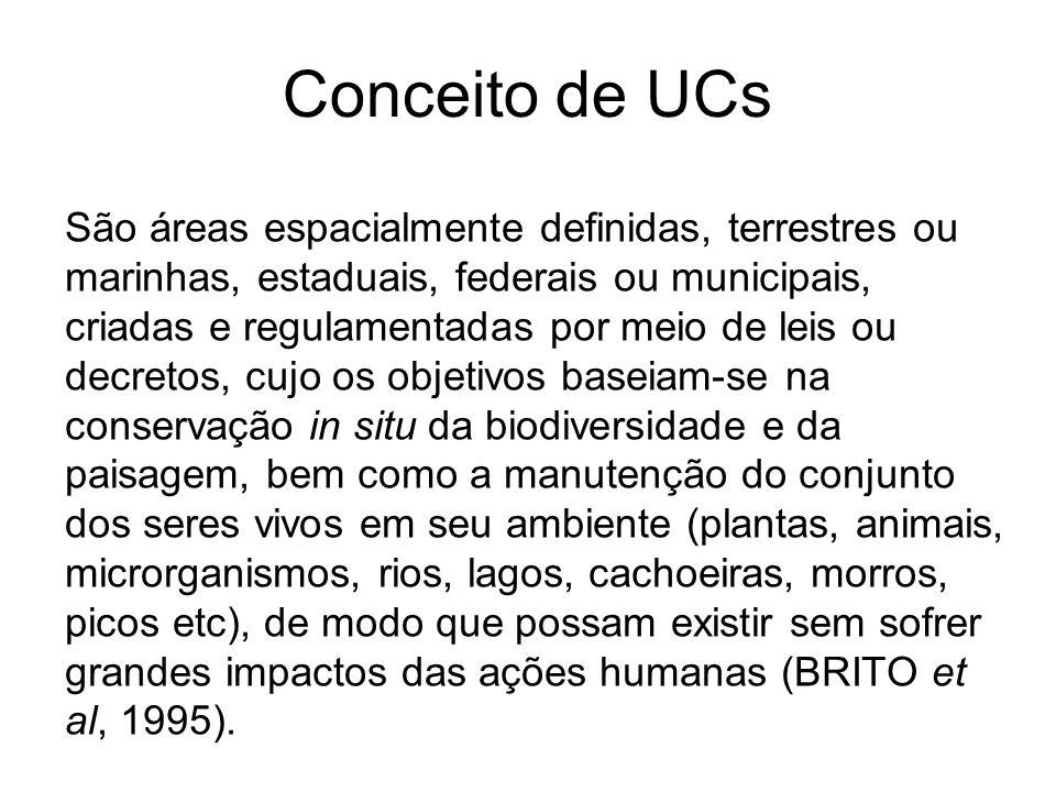 Conceito de UCs São áreas espacialmente definidas, terrestres ou marinhas, estaduais, federais ou municipais, criadas e regulamentadas por meio de lei