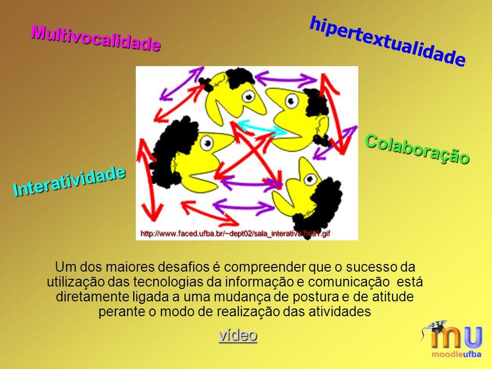 hipertextualidade Um dos maiores desafios é compreender que o sucesso da utilização das tecnologias da informação e comunicação está diretamente ligada a uma mudança de postura e de atitude perante o modo de realização das atividades http://www.faced.ufba.br/~dept02/sala_interativa/fala1.gif Interatividade Multivocalidade Colaboração vídeo