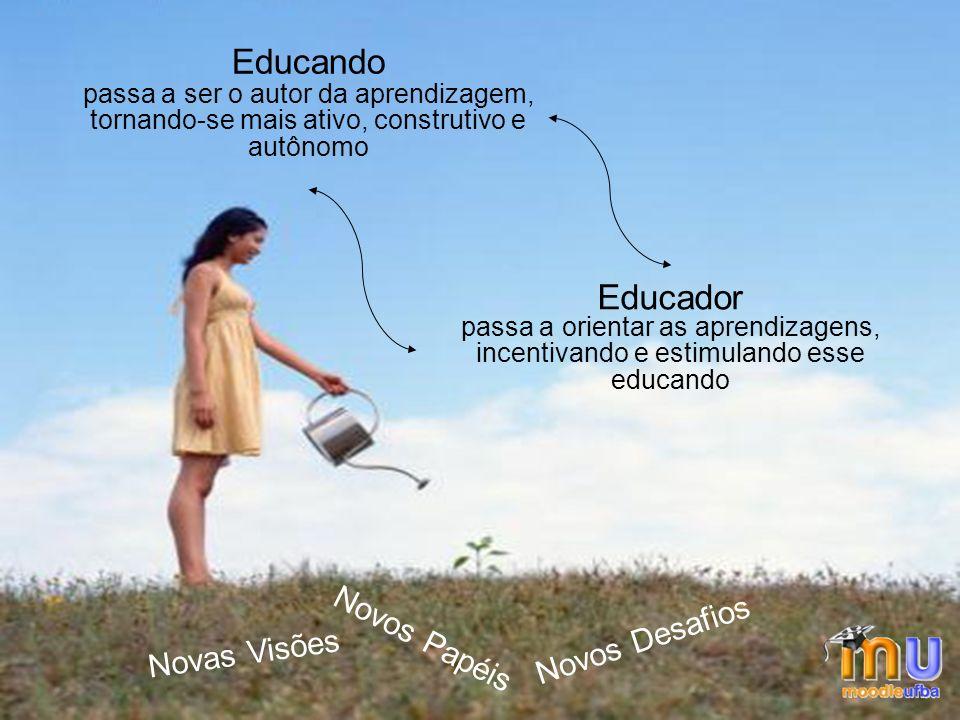 PROFESSOR ALUNO Educando passa a ser o autor da aprendizagem, tornando-se mais ativo, construtivo e autônomo Educador passa a orientar as aprendizagens, incentivando e estimulando esse educando Novas Visões Novos Papéis Novos Desafios