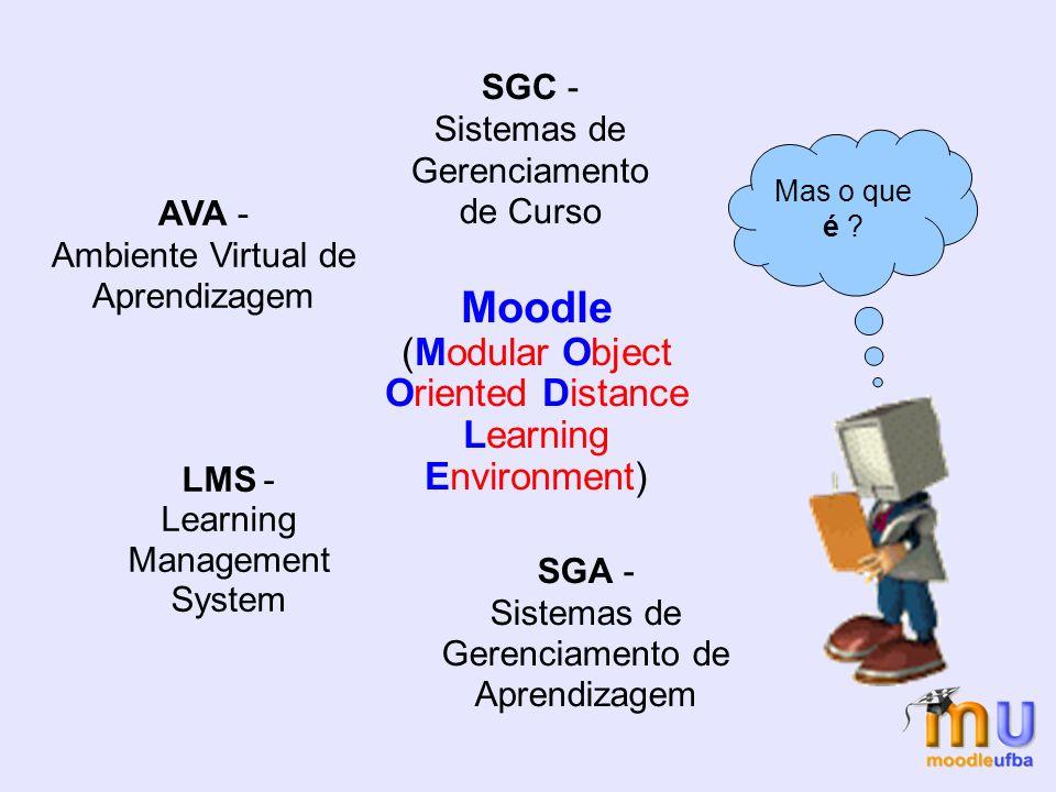 Moodle (Modular Object Oriented Distance Learning Environment) SGC - Sistemas de Gerenciamento de Curso SGA - Sistemas de Gerenciamento de Aprendizagem AVA - Ambiente Virtual de Aprendizagem Mas o que é .
