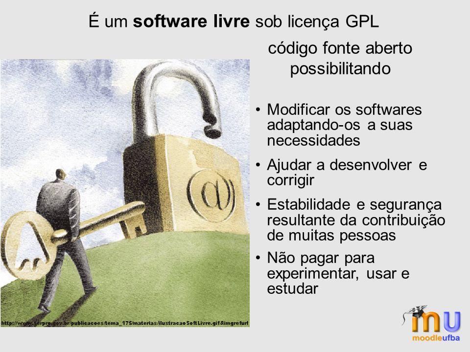 É um software livre sob licença GPL código fonte aberto possibilitando Modificar os softwares adaptando-os a suas necessidades Ajudar a desenvolver e corrigir Estabilidade e segurança resultante da contribuição de muitas pessoas Não pagar para experimentar, usar e estudar