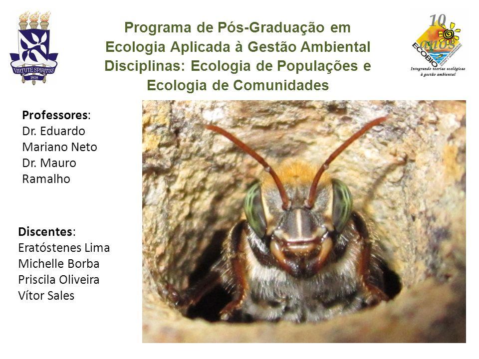 Programa de Pós-Graduação em Ecologia Aplicada à Gestão Ambiental Disciplinas: Ecologia de Populações e Ecologia de Comunidades Discentes: Eratóstenes