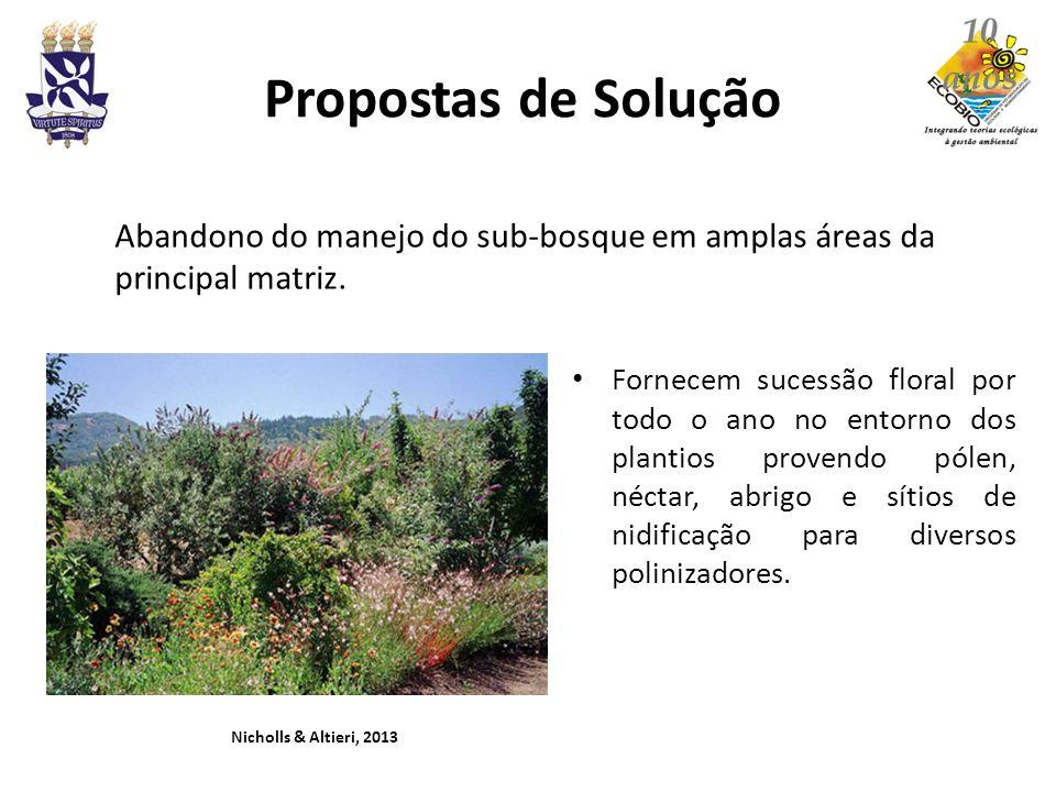 Propostas de Solução Fornecem sucessão floral por todo o ano no entorno dos plantios provendo pólen, néctar, abrigo e sítios de nidificação para diver