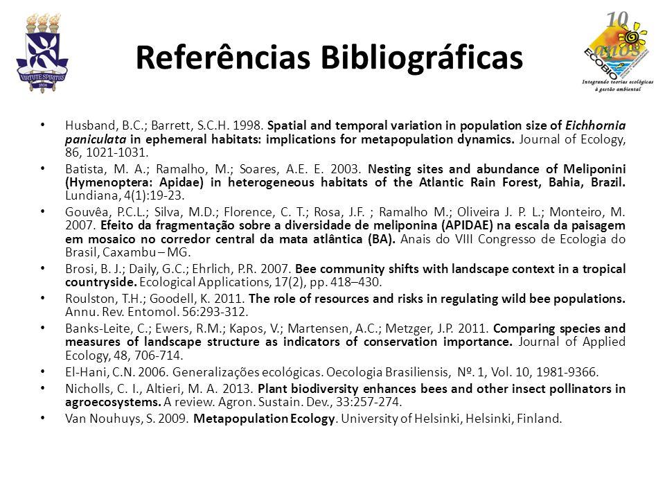 Referências Bibliográficas Husband, B.C.; Barrett, S.C.H. 1998. Spatial and temporal variation in population size of Eichhornia paniculata in ephemera