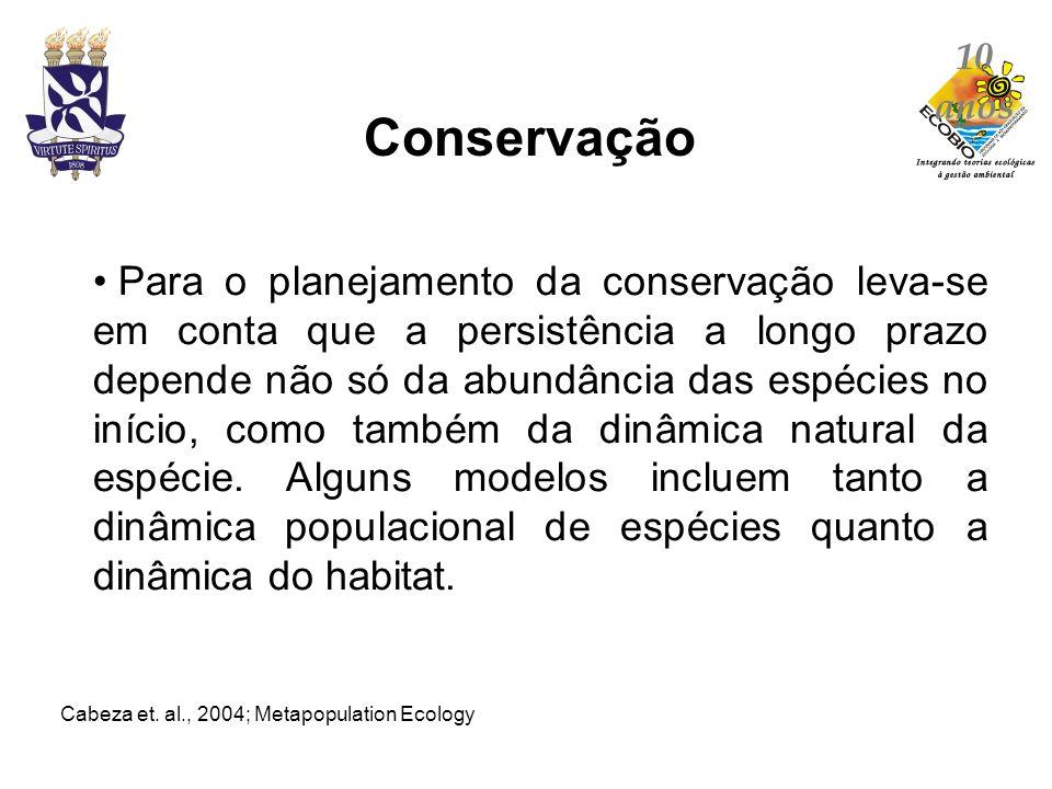 Para o planejamento da conservação leva-se em conta que a persistência a longo prazo depende não só da abundância das espécies no início, como também