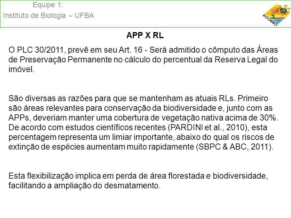 Equipe 1: Instituto de Biologia – UFBA APP X RL O PLC 30/2011, prevê em seu Art. 16 - Será admitido o cômputo das Áreas de Preservação Permanente no c