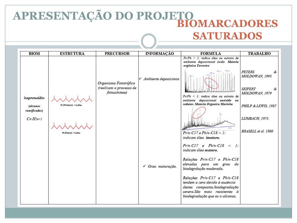 OLEO BRUTO HIDROCARBONETOS SATURADOS (n-Hexano) WHOLE OIL (CG/DIC) APRESENTAÇÃO DO PROJETO METODOLOGIA Análises por Cromatografia em Fase Gasosa com Detector de Espectrometria de Massa (GC/MS e GC/MS-MS) A análise de biomarcadores saturados será realizada utilizando-se a fração de hidrocarbonetos saturados, para a obtenção dos fragmentogramas característicos de cada composto: terpanos e hopanos (m/z 191); esteranos (m/z 217 e 218).