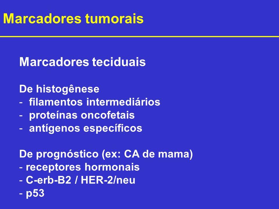 Marcadores teciduais De histogênese - filamentos intermediários - proteínas oncofetais - antígenos específicos De prognóstico (ex: CA de mama) - recep