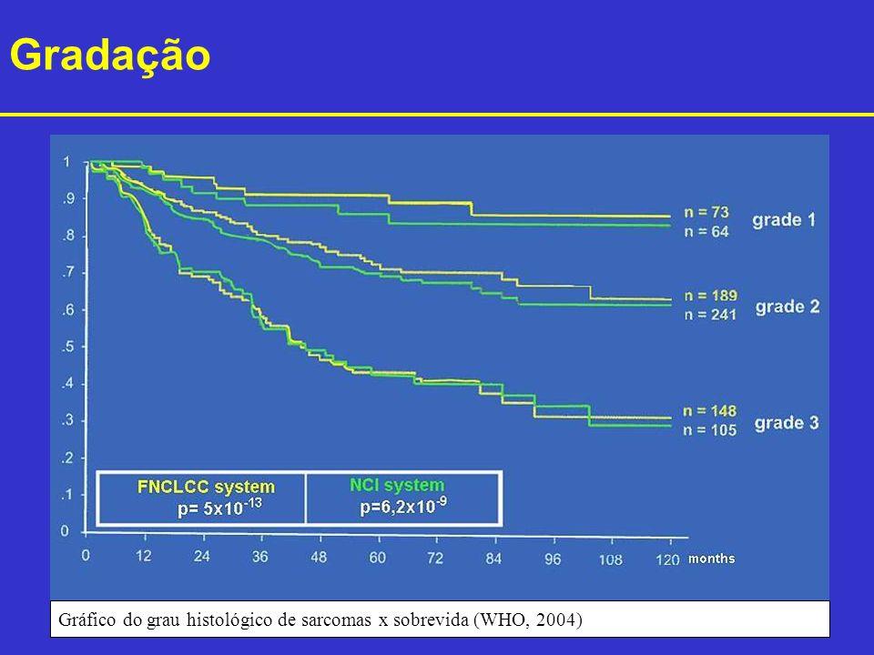 Gráfico do grau histológico de sarcomas x sobrevida (WHO, 2004) Gradação