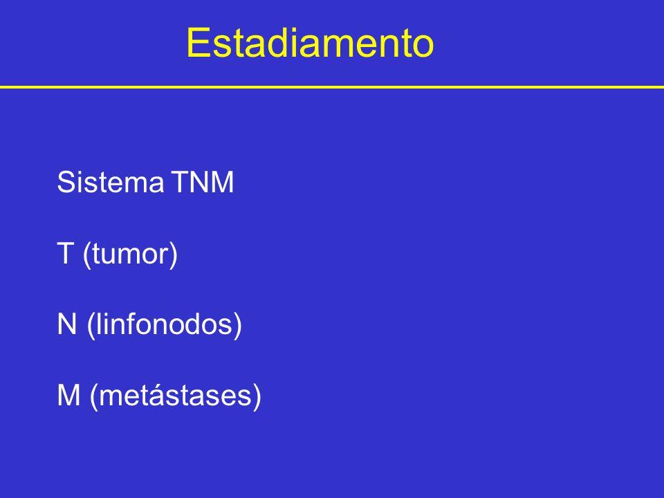 Estadiamento Sistema TNM T (tumor) N (linfonodos) M (metástases)
