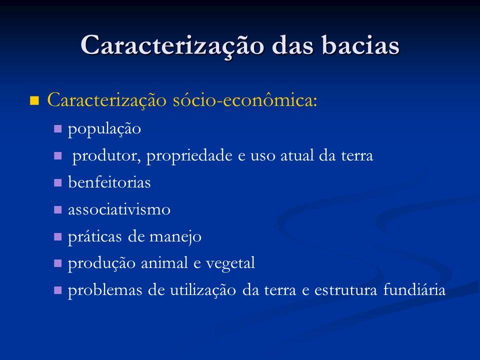Caracterização das bacias Caracterização sócio-econômica: população produtor, propriedade e uso atual da terra benfeitorias associativismo práticas de