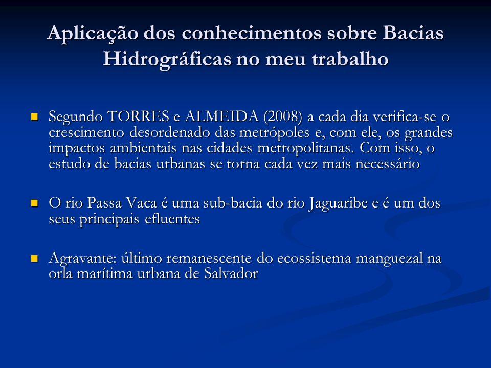 Aplicação dos conhecimentos sobre Bacias Hidrográficas no meu trabalho Segundo TORRES e ALMEIDA (2008) a cada dia verifica-se o crescimento desordenad