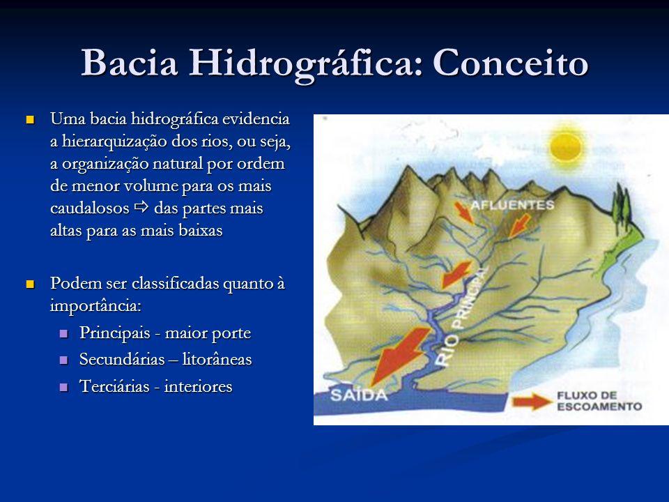Bacia Hidrográfica: Conceito Uma bacia hidrográfica evidencia a hierarquização dos rios, ou seja, a organização natural por ordem de menor volume para