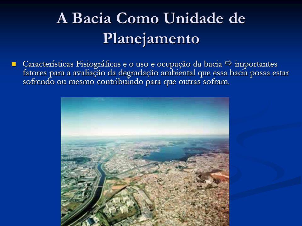 A Bacia Como Unidade de Planejamento Características Fisiográficas e o uso e ocupação da bacia importantes fatores para a avaliação da degradação ambi