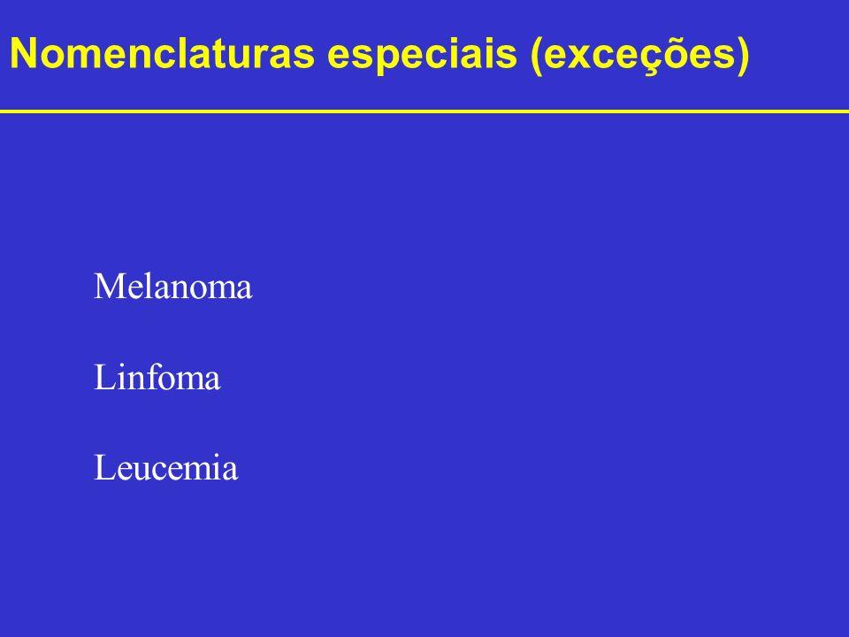 Nomenclaturas especiais (exceções) Melanoma Linfoma Leucemia