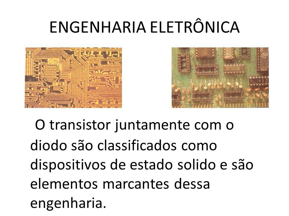 ENGENHARIA ELETRÔNICA O transistor juntamente com o diodo são classificados como dispositivos de estado solido e são elementos marcantes dessa engenha